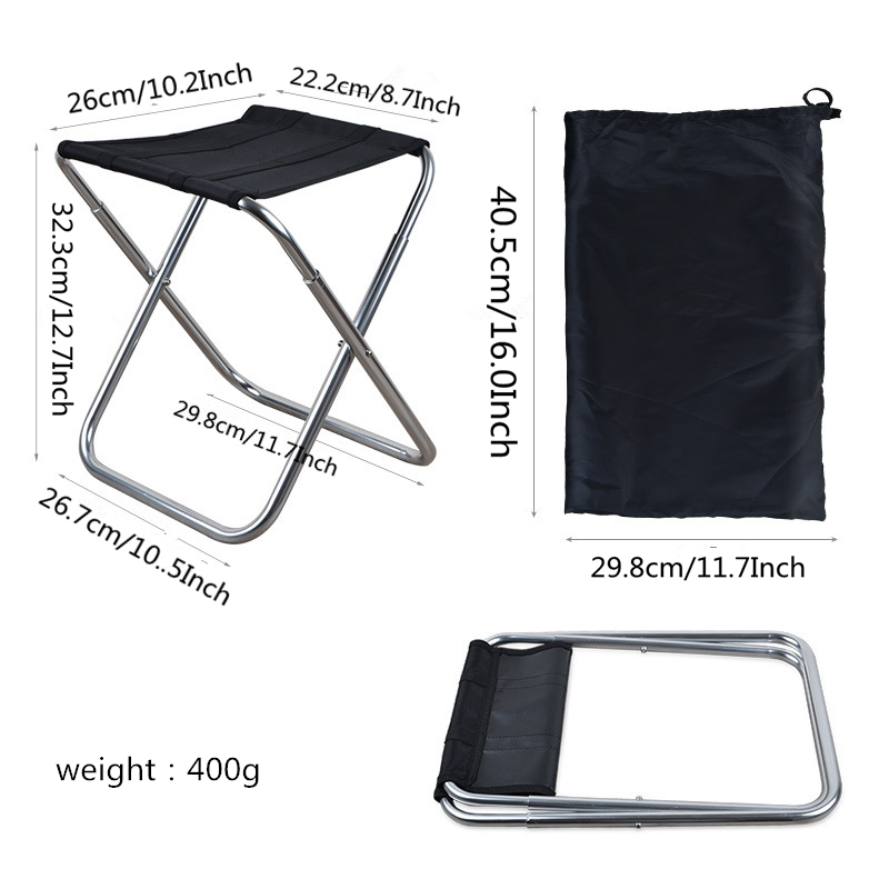 Image 2 - VILEAD 3 Colors Portable Camping Stools Ultralight Folding Chair Aluminium Outdoor Picnic Beach BBQ Fishing Foldable 36*23*32cm-in Camping Stools from Sports & Entertainment