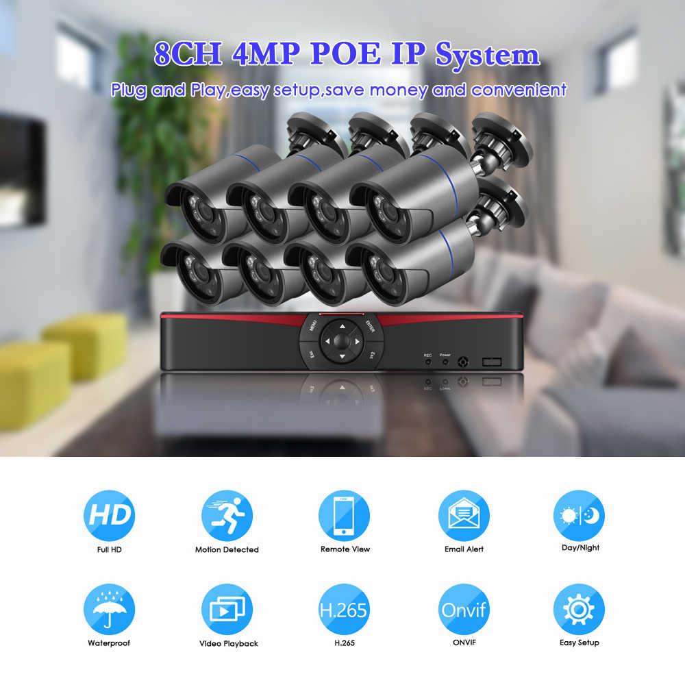 غيدينان 8CH 4MP هدمي بو طقم NVR نظام الأمن الدوائر التلفزيونية المغلقة 4.0MP 3.0MP الصوت في الهواء الطلق تسجيل IP كاميرا مراقبة الفيديو مجموعة 2 تيرا بايت هد