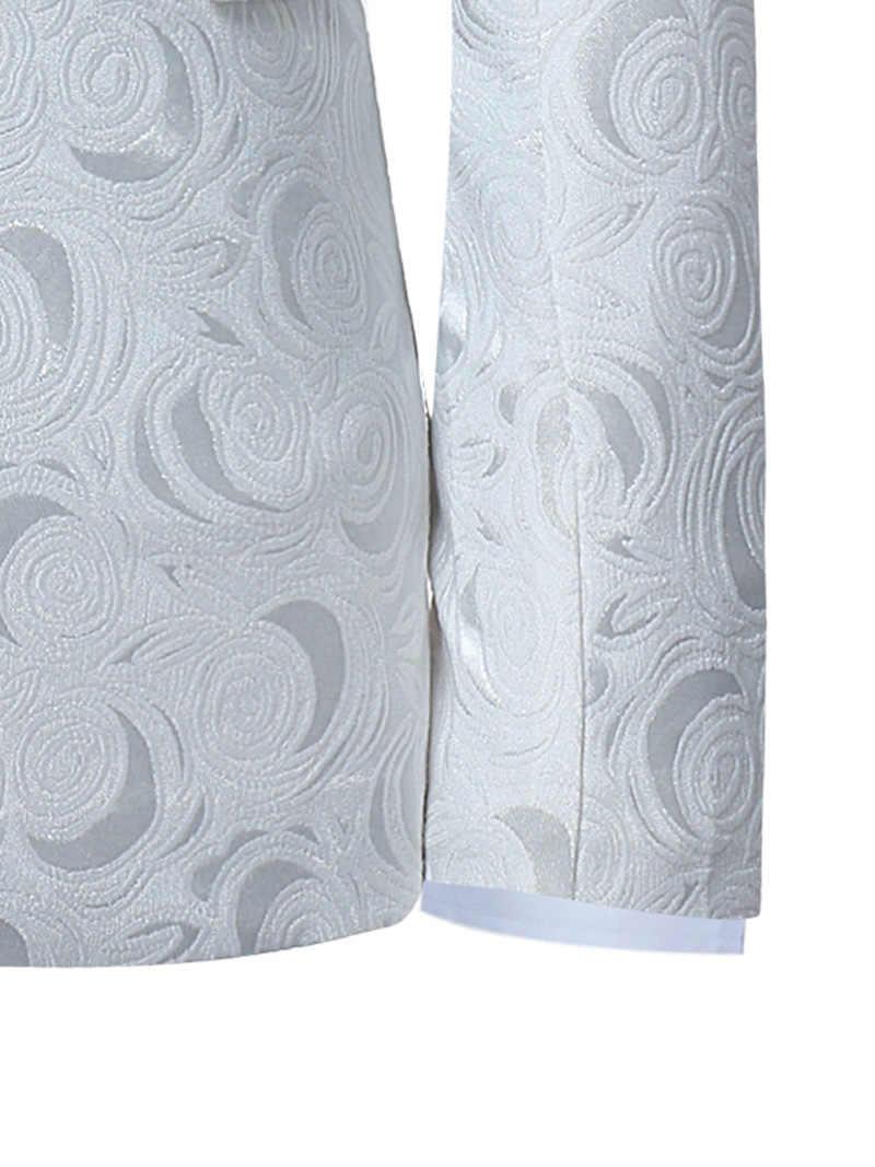 男性のホワイトローズジャカード結婚式のブレザージャケット男性シングルブレスト 2 ボタンノッチラペルタキシードスーツブレザー衣装オム