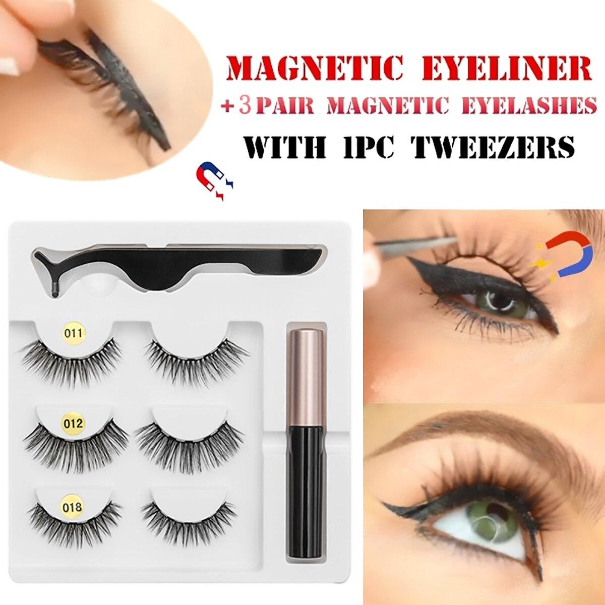 5 Magnet Eyelash Magnetic Liquid Eyeliner& Magnetic False Eyelashes &  Tweezer Set Waterproof Long Lasting Eyelash Extension
