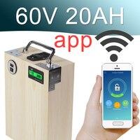 60 V 20AH APP lithium-ionen Elektrische fahrradbatterie Telefon USB 2.0 Port Elektro-fahrrad-roller ebike Power 1000 Watt holz