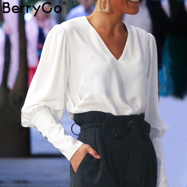 BerryGo Puff sleeve women blouse shirt Button white v neck tops spring 2019 Elegant office lady streetwear blusas women shirts