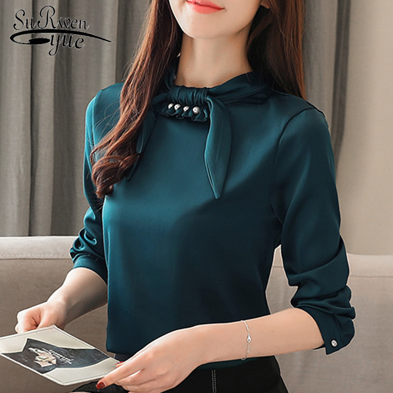 Fashion woman   blouses   2019 long sleeve women   shirts   solid chiffon   blouse     shirt   womens tops and   blouses   blusas femininas 1960 50