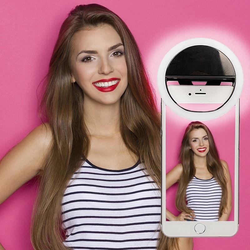 Scomas cámara del teléfono belleza selfie anillo de luz led 3 nivel de brillo ajustable recargable clip en el teléfono celular LED flash lámpara