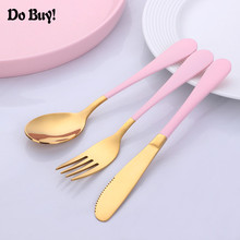 3Pcs/Set Lovely Baby Kids Feeding Spoon Fork Knife Set 304 Stainless Steel Baby Spoon Flatware Set 2017 new safety soft spoon baby flatware feeding spoon transparent newborn soft silicone flatware lovely gifts for kids 3 colors