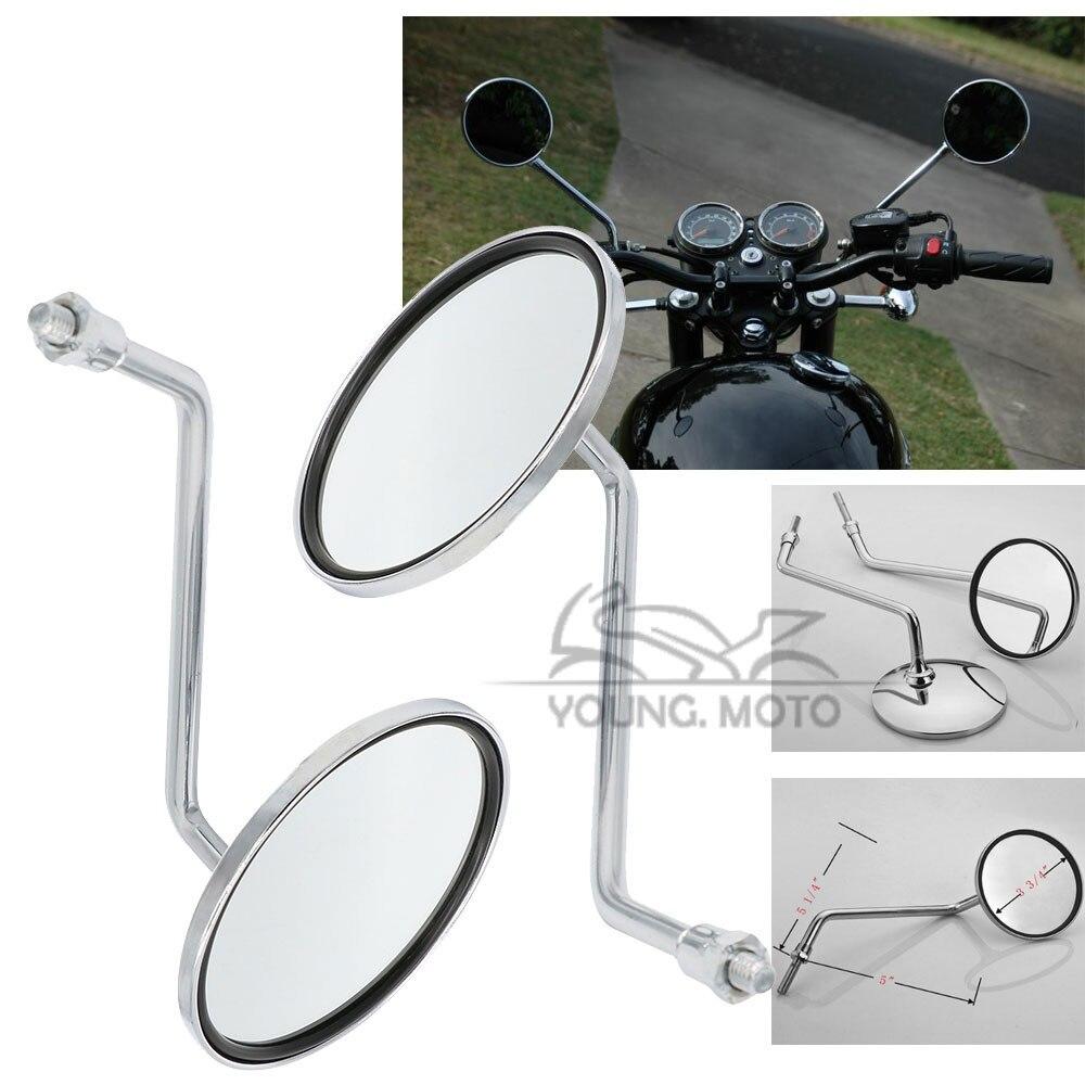 Chrome Round 8mm 10mm Motorcycle ATV Dirt Bike Handlebar Side Rear View Mirror for Yamaha Honda Kawasaki KTM Suzuki Harley