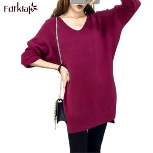 Fdfklak новая одежда для беременных зимний вязаный свитер женский кашемировый свитер для беременных свитера длинные женские топы