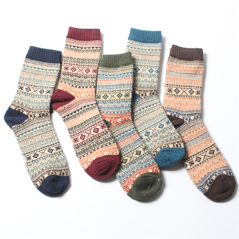 Winter Men Socks Thick Warm Striped Socks Casual In Tube Wool Socks Vintage Ethnic Style Business Man Socks Calcetines Hombre
