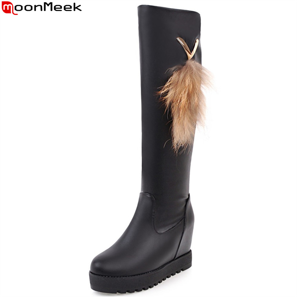 MoonMeek fashion autumn winter women boots black white high quality pu round toe ladies boots height increasing knee high boots книги волшебные створки