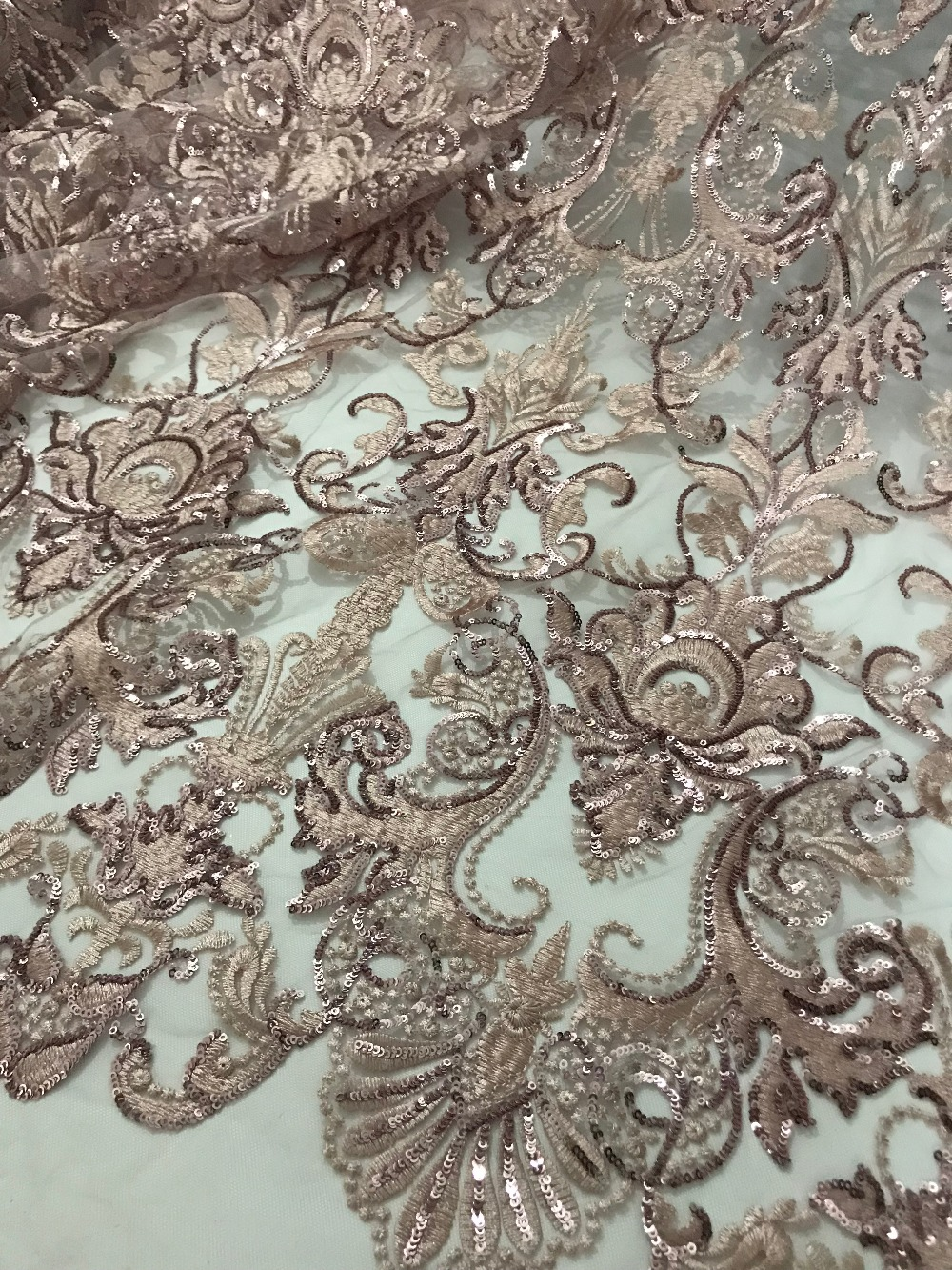 fast shipping 5 yards embroidery tulle mesh lace fabric JIANXI C 71518 with sequins for wedding