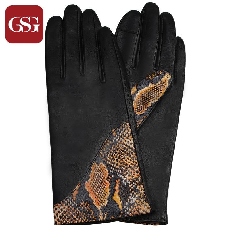 Modne žene kožne rukavice osjetljive na dodir zakrpljene zmijske - Pribor za odjeću - Foto 5