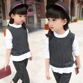 Girls clothing sets 2016 Baby girl Clothes Children fashionable set cute Stripe T-shirt+pants clothing blouse design