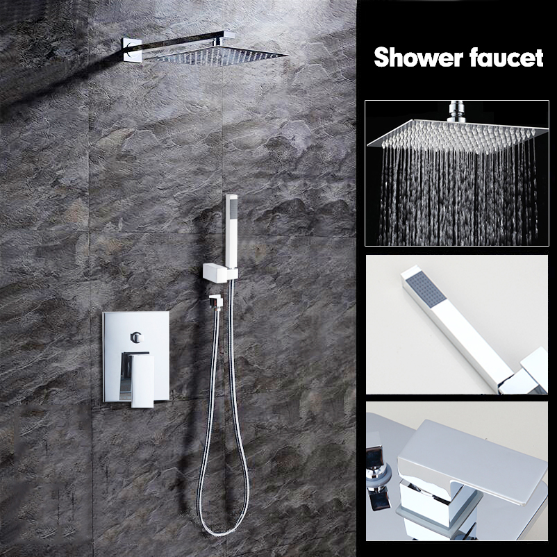 8 RU Wall Mounted Rain Shower Set Luxury Square Shower Head Shower Sets with Hand Control Valve Chrome Polished shower Faucet polished chrome wall mount temperature control shower faucet set brass thermostatic mixer valve with handshower