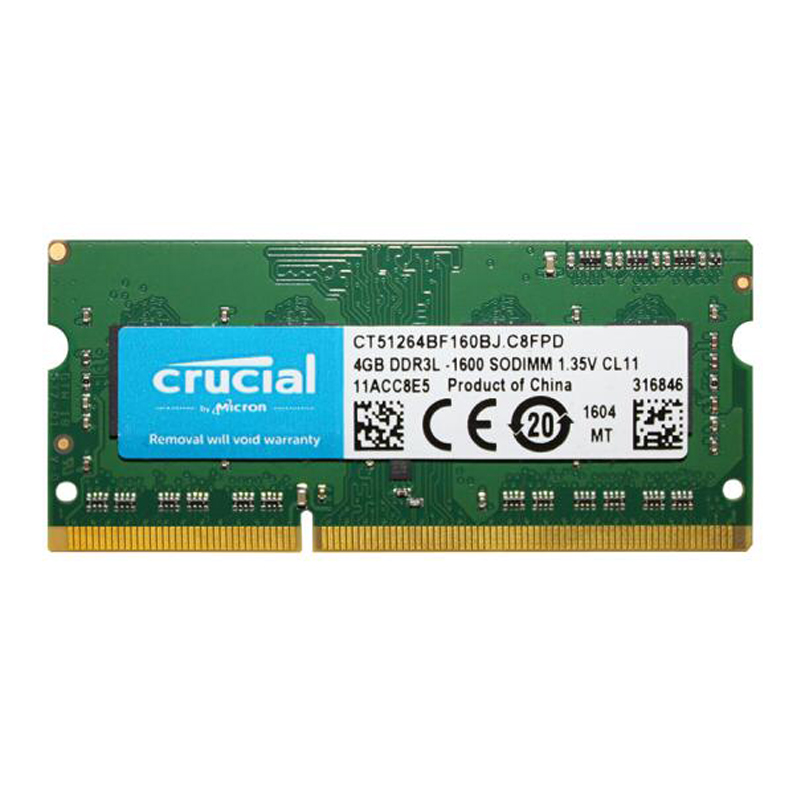 Brand New Crucial Laptop Memory Ram DDR3L 1600Mhz 1.35v 4GB