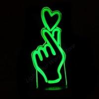 Sign Language Love You 3D Night Light 7 Color Change Heart LED Desk Light Living Bed