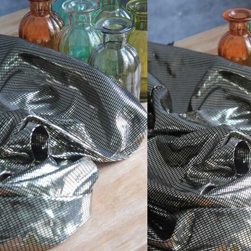 Цветная яркая зеркальная поверхность Покрытие Решетки трикотажная стрейч металл цвет лазерный костюм свадебное украшение ткань