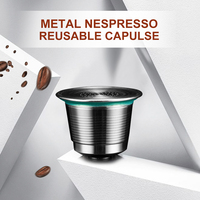 Espresso Stainless Steel Refillable Capsules Reusable Coffee Capsule For Nespresso Machine 1Spoon 1Brush Coffee Tamper