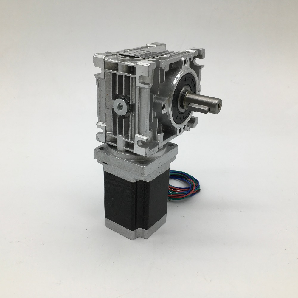 RV030 Worm Gearbox  Speed Reducer 14mm output With Nema23 Stepper Motor 3A 84MM 2.2NM 320Oz in kit  90 degree For CNC Router-in Speed Reducers from Home Improvement    1
