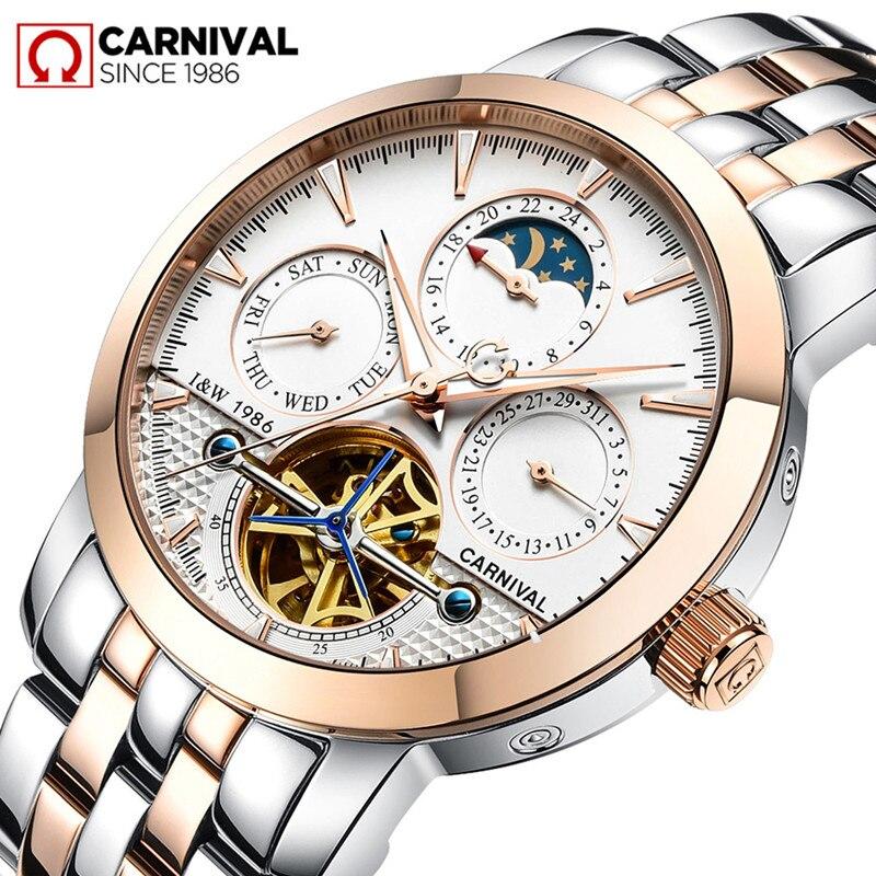 купить Carnival Aviator Tourbillon Automatic Watch Men Business Mens Mechanical Watches Full Steel Wristwatch Clock relogio masculino недорого