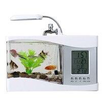 Timer Home Decor Alarm Fish Tank With Calendar Clock LED Light Mini Desktop Lamp LCD Display USB Gift Multifunctional Aquarium
