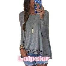 Autumn Blouse 2018Fashion Women Long Sleeve O-Neck Casual Tops Sexy Lace Crochet Blusas Shirts Plus Size Laipelar plus size long sleeve lace spliced crochet blouse