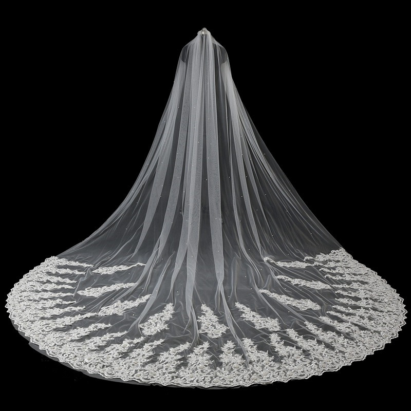 JaneVini 5 Meter Veil Ivory Wedding Veils with Comb Pearls Lace Appliques Edge One Layer Cathedral