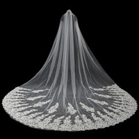 JaneVini 5 Meter Veil Ivory Wedding Veils with Comb Pearls Lace Appliques Edge One Layer Cathedral Flength Wedding Accessories