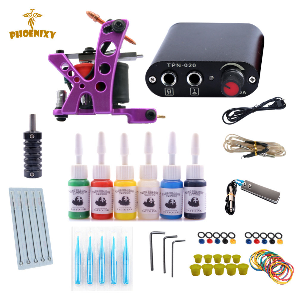 Beginner Tattoo Kit Machines 1 Coils Guns Set 6 Colors Pigment Power Supply Sets Tattoo Accessories Permanent Make Up KitBeginner Tattoo Kit Machines 1 Coils Guns Set 6 Colors Pigment Power Supply Sets Tattoo Accessories Permanent Make Up Kit