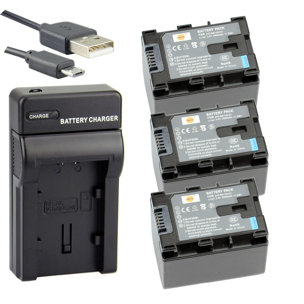 DSTE 3pcs BN-VG121 Li-ion Battery + UDC96 usb charger for JVC GZ-G3 GZ-GX8 GZ-E245 GZ-E10 GZ-E100 GZ-E565 GZ-HM970 HM855