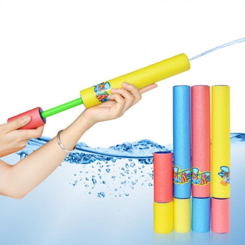 2pcs Pull Type EVA Foam Drawn  Blaster Summer Beach Water Guns For Kids Shooter Summer Fun Outdoor Swimming Pool  For Boys Girls