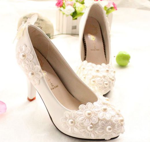 HANDMADE low high heels med-heel fashion custom made bridal wedding shoes white TG105, pearls lace flowers girl party pumps stylish faux turquoise rhinestone carving elephant necklace for women