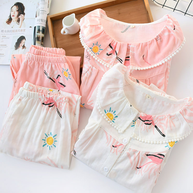 Image 3 - Female Summer Seven Sleeve Pijama Mujer Pink Pure Cotton Yarn Sleepwear Sexy Pajama Sets Women Korean Cute Sweet Thin Home Suit-in Pajama Sets from Underwear & Sleepwears