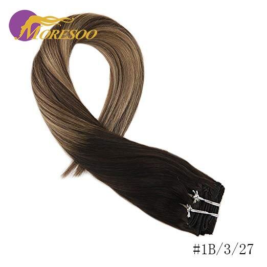 Moresoo накладные волосы Remy на заколках для наращивания, натуральные волосы с эффектом омбре, 7 шт., 100 г, набор на всю голову - Цвет: 1B-3-27