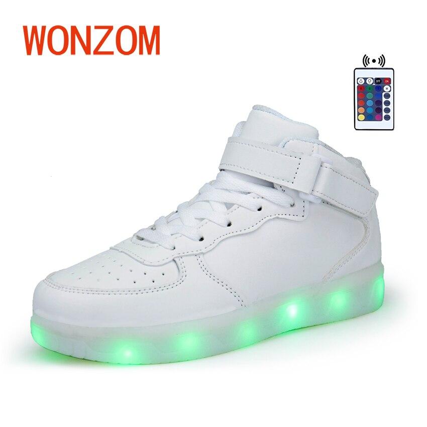 Wonzom новая обувь суперзвезды модные Повседневное взрослых 7 цветов USB зарядка мигающий светодиод Обувь высокое качество Zapatos Высокий Верх ве...