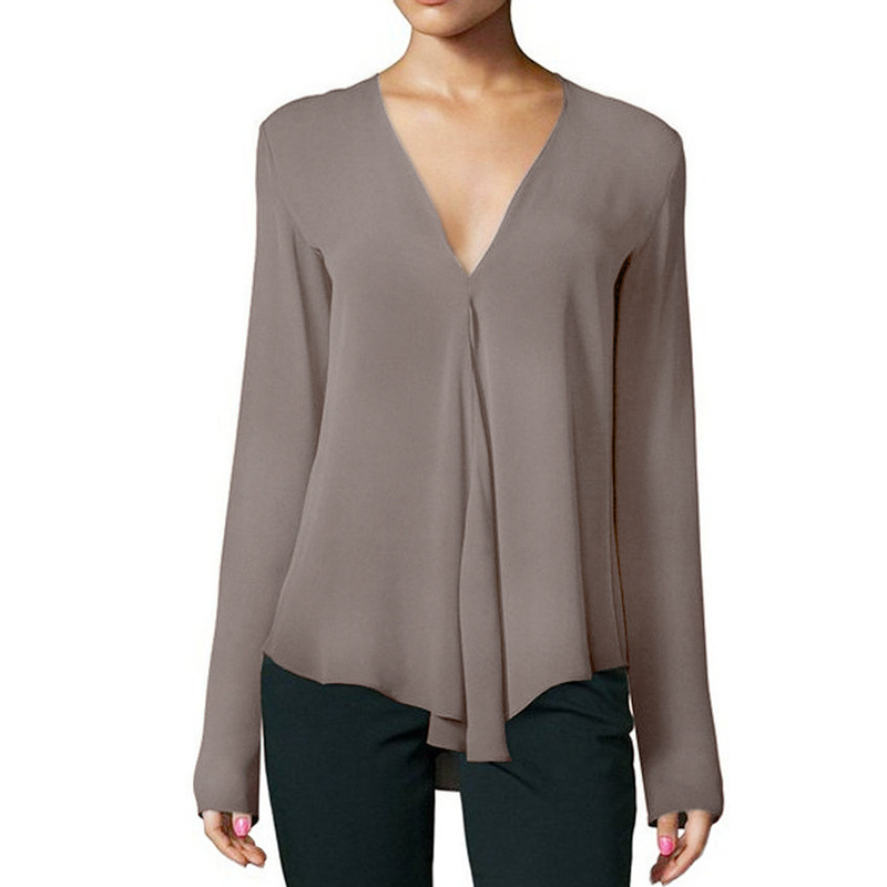 2019 Spring Women Shirts Sexy Ladies V-neck Long-sleeved Tops Office Work OL Chiffon Irregular Chiffon Blouses Plus Size 6XL