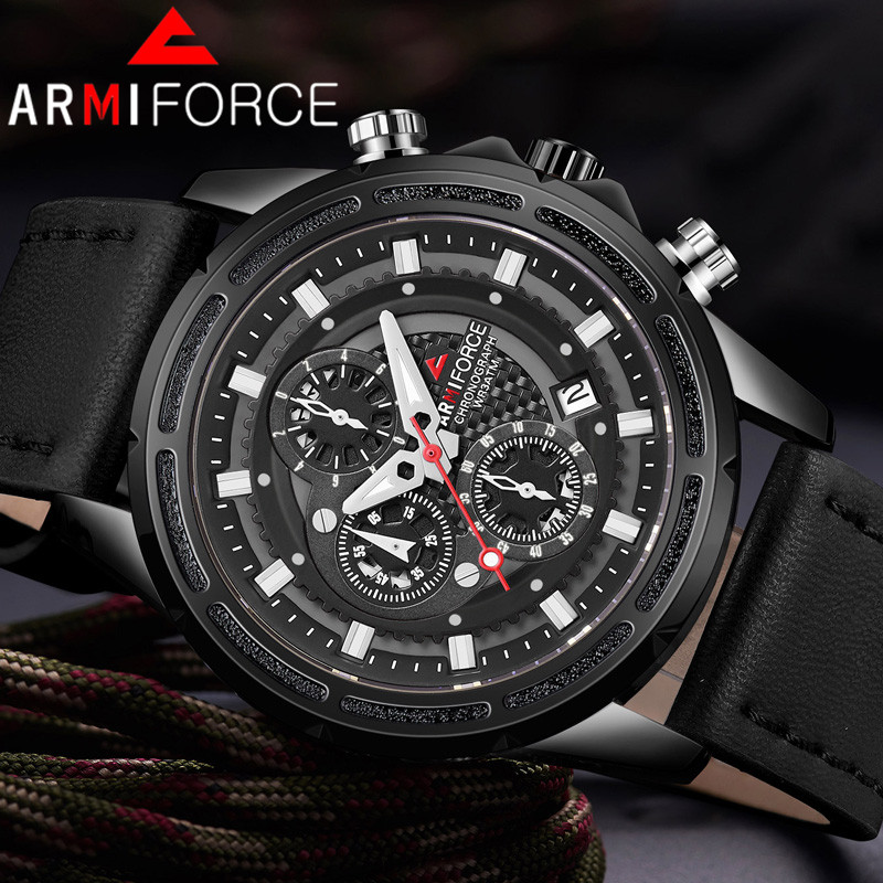 Armiforce Men Watch Top Luxury Brand Gold Chronograph Calendar Sport Male Wristwatch Military Man Clock Relogio