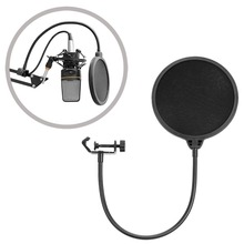 Neewer NW (B-3) Forma Redonda de 6 pulgadas Estudio Micrófono Mic Viento Pop Shield Máscara de Filtro con Soporte Clip (Filtro de negro)