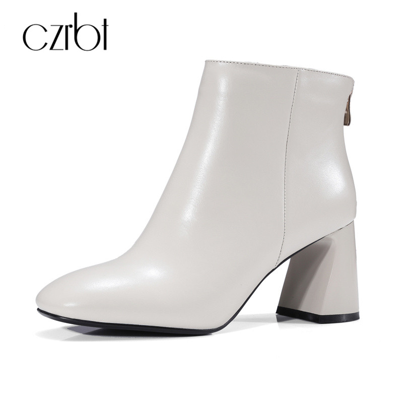 CZRBT Elegant Square Toe Women Ankle Boots High Heels 8cm Top Quality Handmade Genuine Leather Shoes Women New Fashion Big Size big size 34 42 high quality genuine leather leisure low heels ankle boots fashion cowhide round toe platform women boots
