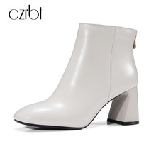 CZRBT Elegant Square Toe Women Ankle Boots High Heels 8cm Top Quality Handmade Genuine Leather Shoes Women New Fashion Big Size