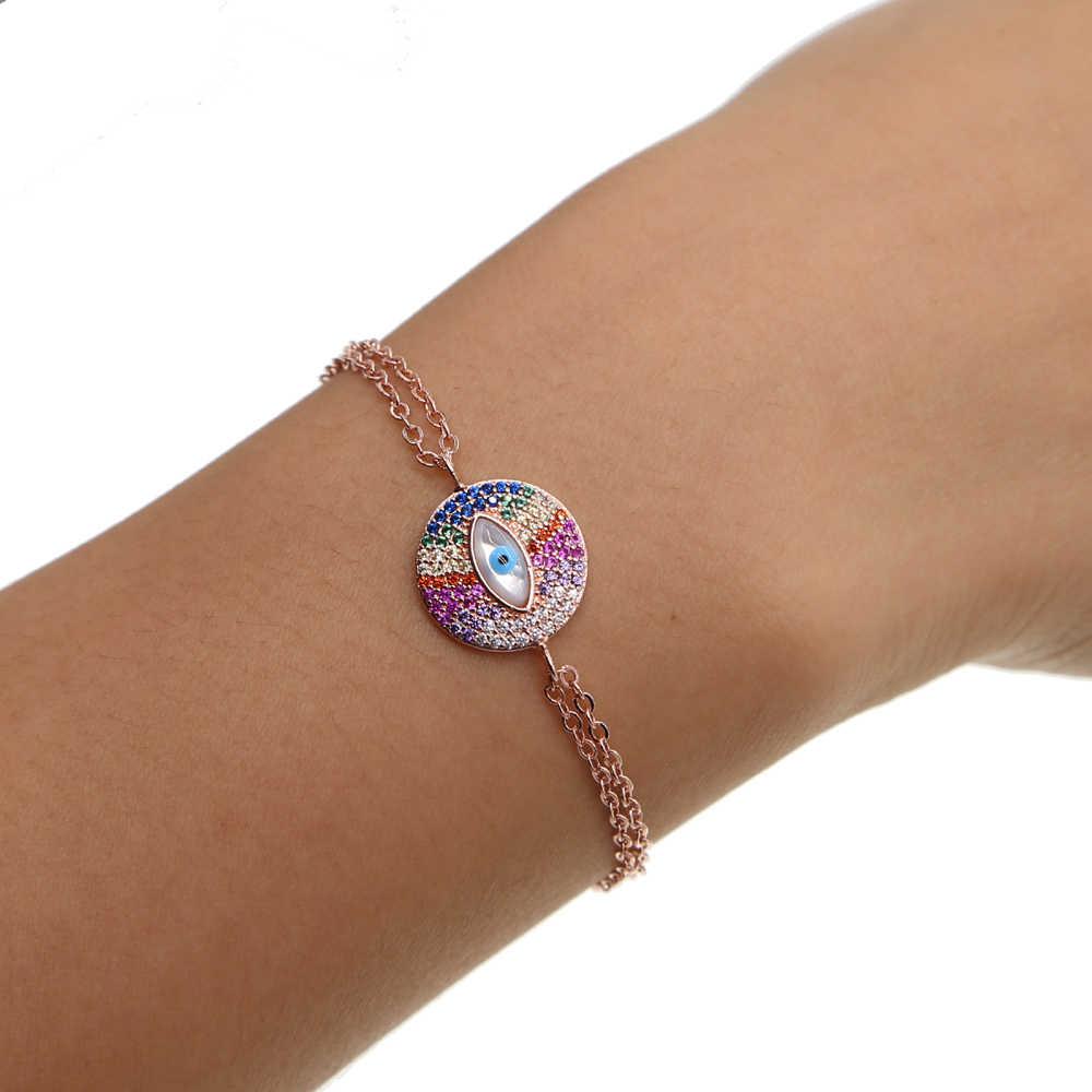 2017 wysokiej jakości Pave kolor CZ kobiety mężczyźni eye Charm link bransoletki i łańcuszki na rękę karabińczyk pleciona bransoletka kobiety biżuteria z różowego złota