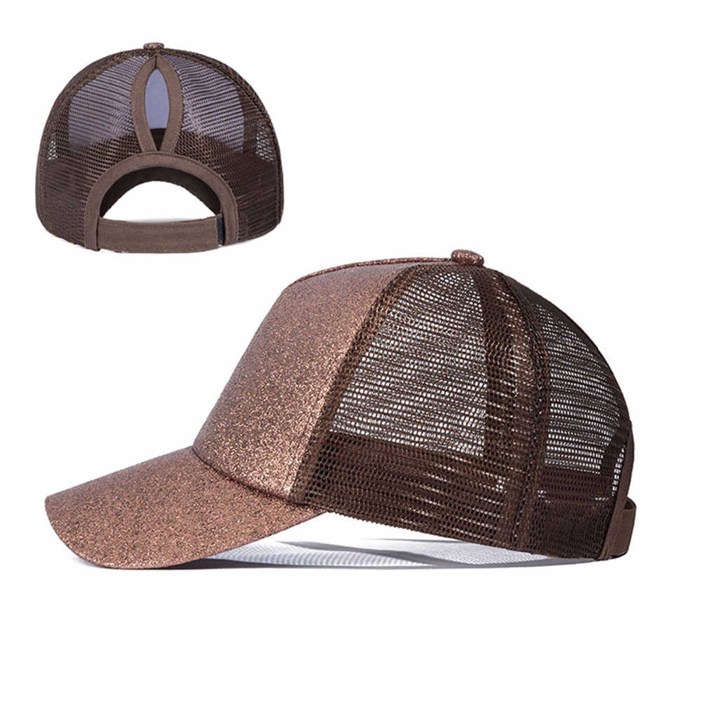 5b01692260e ... URDIAMOND 2019 Ponytail Baseball Cap Women Messy Bun Snapback Summer  Mesh Hats Casual Sport Sequin Caps ...