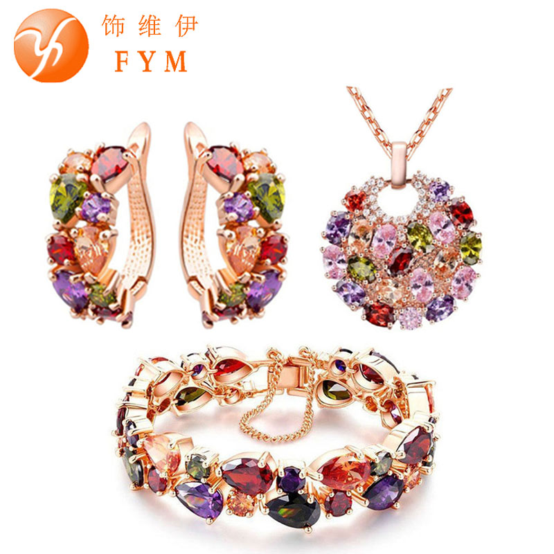 лучшая цена FYM Luxury Mona Lisa Multicolor Crystal Necklace Ring Earrings Rose Gold Color Jewelry Sets for Women Colorful Jewelry Set