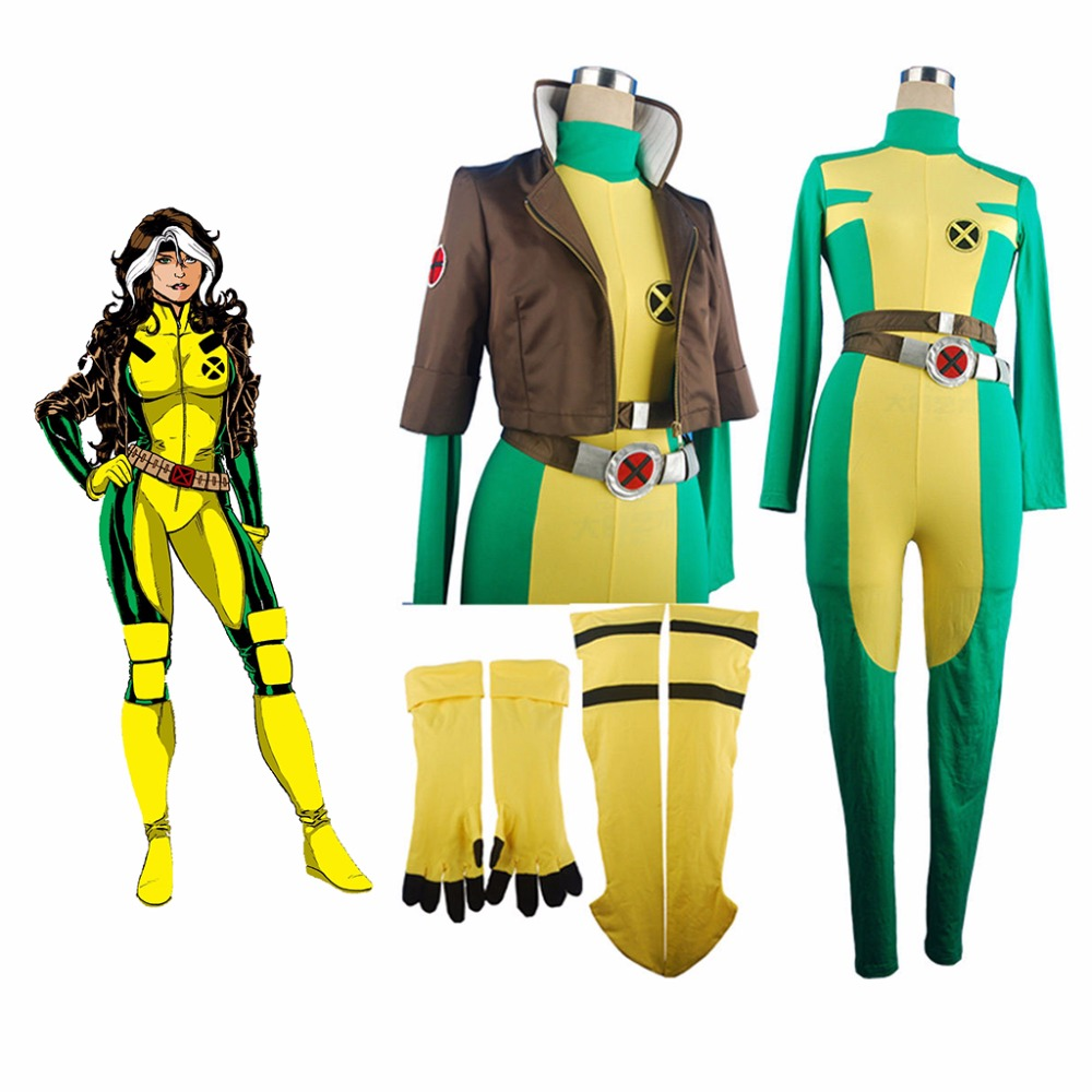 X-Men Rogue Superhero Marie D'Ancanto X Men Jumpsuit Catsuit Bodysuit Cosplay Halloween Costume  Women Girls Adults