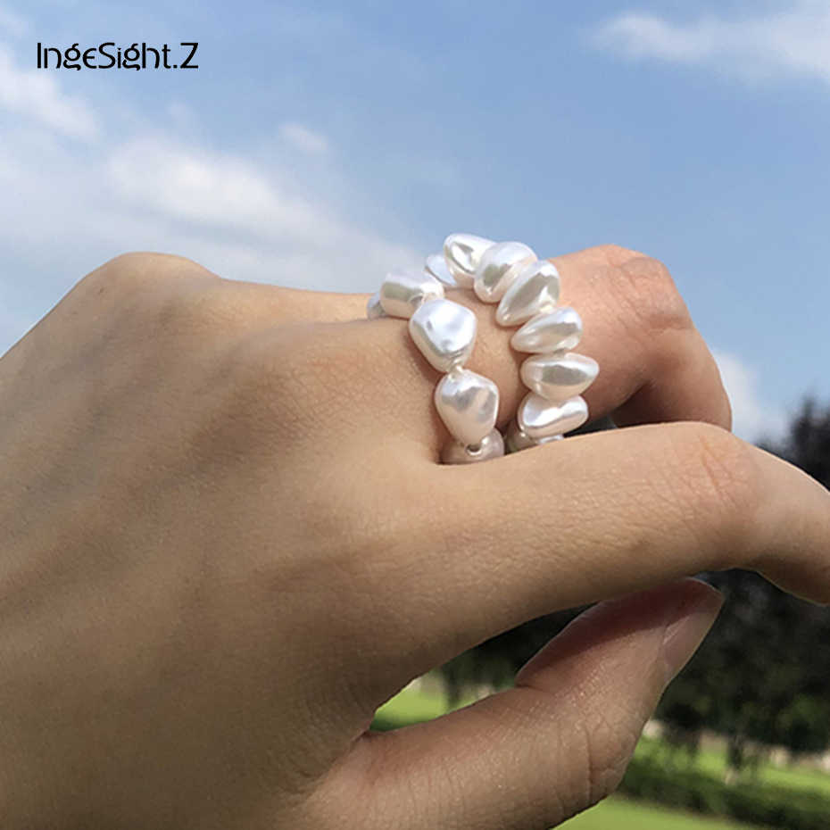 IngeSight.Z 2 ชิ้น/เซ็ต Bohemian ส่วนบุคคลไข่มุกจำลองแหวน Minimalist ปรับแหวนผู้หญิงเครื่องประดับ