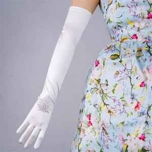 Image 3 - Silk Satin Gloves 58cm Elasticity Mercerized Satin Black White Extra Long Style Over Elbow Female Sunscreen Bride Married WSG05