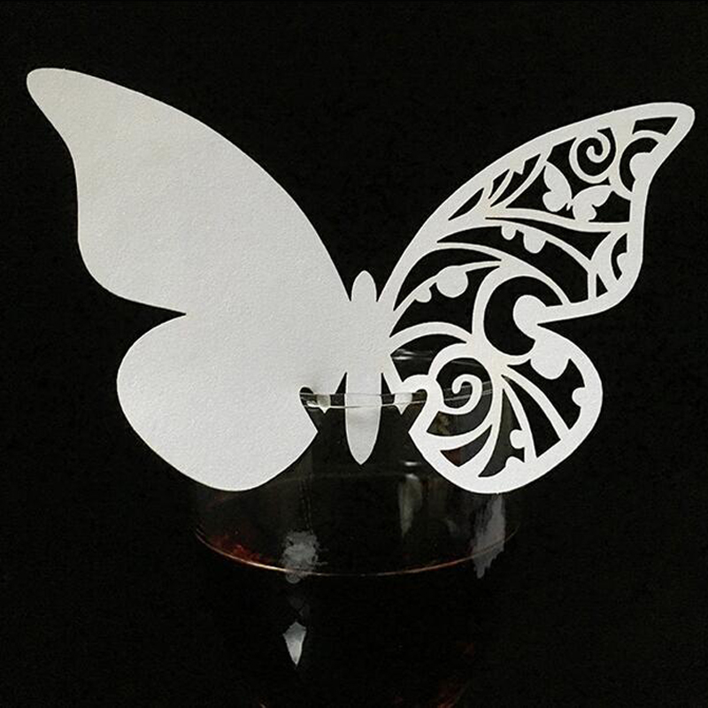 10 Colos 50pcs Butterfly Laser Cut Table Mark Wine Glass Name Place Cards Wedding Birthday Baby Shower Party Favor Supplies (4)