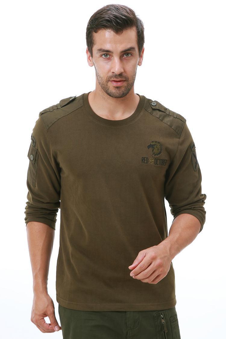 Армейский мужской военный комплект из США, красный, 10 октября, костюм с воздушным десантом, футболка с длинными рукавами, военный комплект, к... - 2