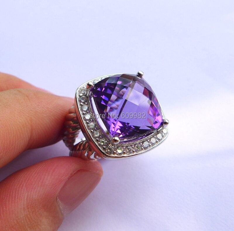 15.6ct Аутентичные Фиолетовый Камень Твердые стерлингового серебра 925 вечерние кольцо