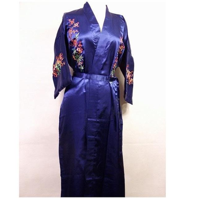 Moda das Mulheres Chinesas de Cetim de Seda Bordado Robe Kimono Bath Vestido Flor Sml XL XXL XXXL Frete Grátis MR-021