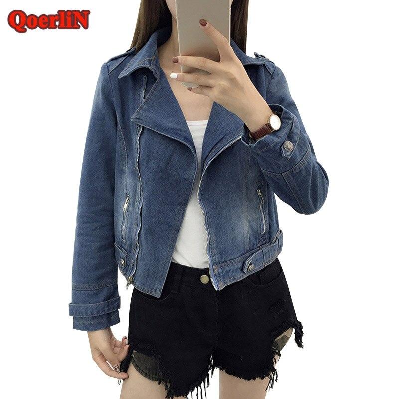 QoerliN Vintage Long Sleeve Casual Short Jeans Jacket Coat Women Turn-Down Collar Fashion Blue Outerwear Female Womens Clothing
